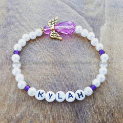 Purple - White Pearl Angel Bracelet
