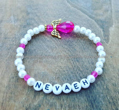 Hot Pink - White Pearl Angel Bracelet