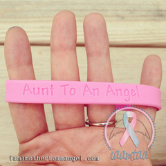 Wristband - Aunt To An Angel - Baby Pink