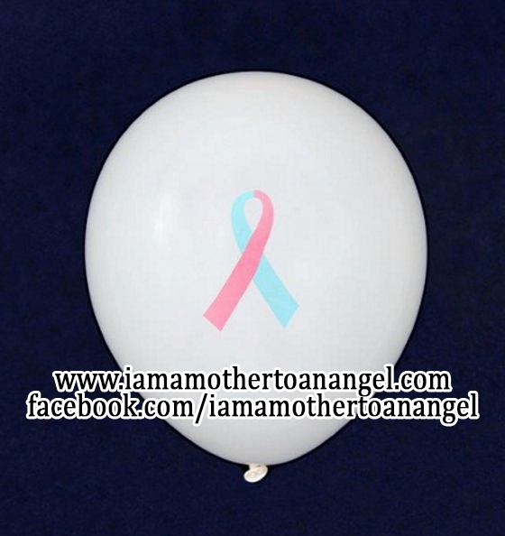 10 - Pink & Blue Awareness Ribbon Balloons (White)