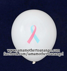 50 - Pink & Blue Awareness Ribbon Balloons (White)