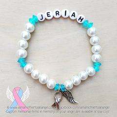 White Pearls - Blue Accents - Personalized Bracelet w/ Angel Wing & Awareness Ribbon Charm