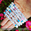 5 Year Anniversary Sale - White Pearls & Your Choice of Accent Color - Personalized Bracelet w/ Angel Wing & Awareness Ribbon