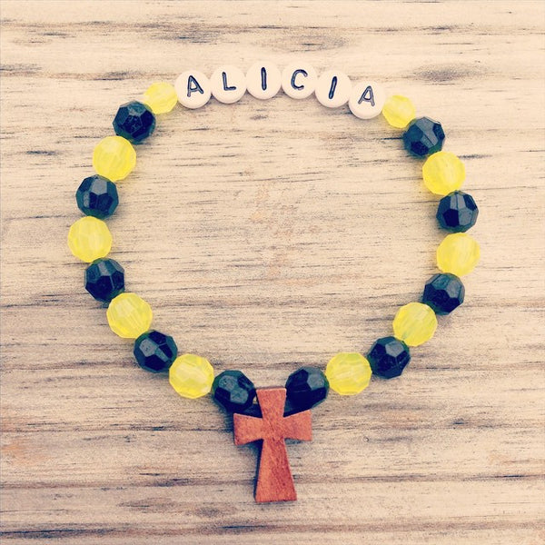 Black & Yellow - Personalized Bracelet w/ Wooden Cross