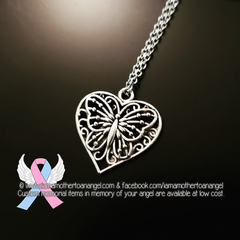 Heart Shaped Filigree Butterfly Necklace
