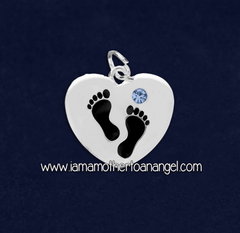 Footprints On My Heart Charm - Blue