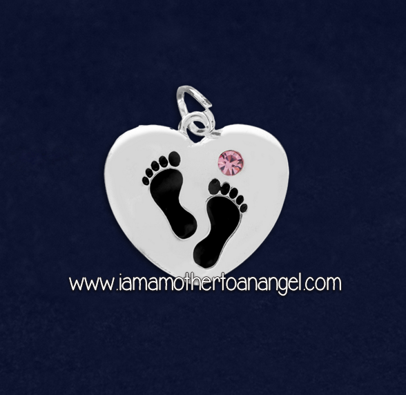 Footprints On My Heart Charm - Pink