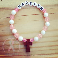 Pink & White - Personalized Bracelet w/ Wooden Cross