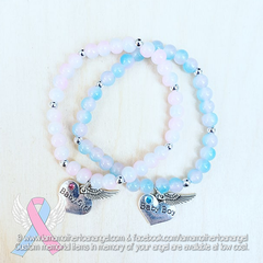Baby Boy Or Baby Girl, Pink & Blue Marbled Glass, Memorial Bracelets