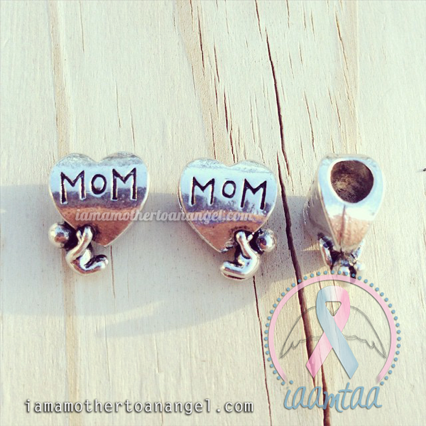 Mom Heart W/ Little One Hanging On - European Charm (Pandora Style)