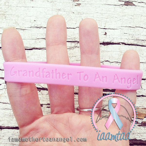 Wristband - Grandfather To An Angel - Baby Pink