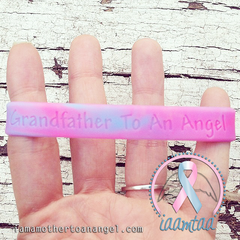 Wristband - Grandfather To An Angel - Pink/Blue Swirl