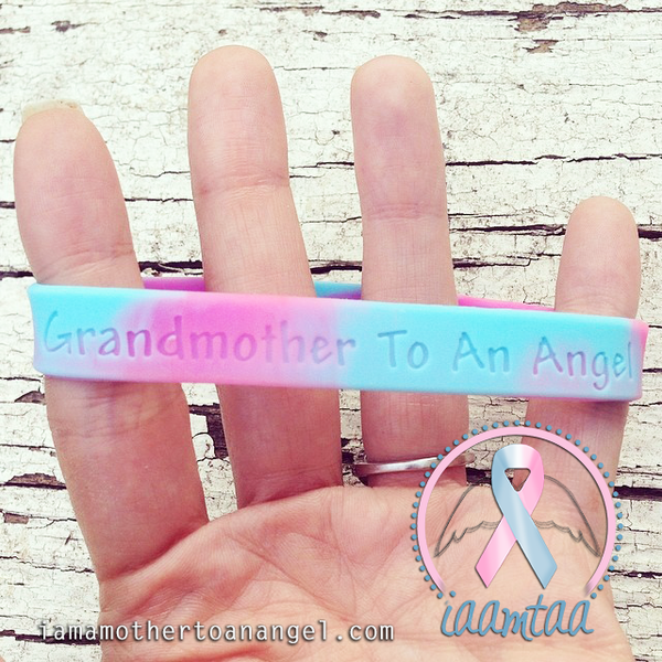 Wristband - Grandmother To An Angel - Pink/Blue Swirl