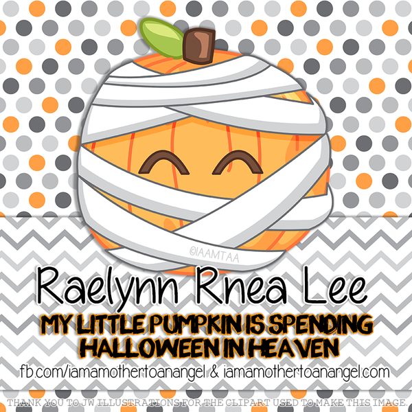 Digital Personalized Keepsake Graphic - Little Pumpkin In Heaven Halloween 2015