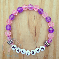 Sweet Little Butterflies Bracelet - Personalized - Pink/Purple