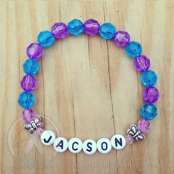 Sweet Little Butterflies Bracelet - Personalized - Blue/Purple