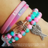 Pink & Blue Marbled Glass - Awareness & Memorial Bracelet - 2 Options