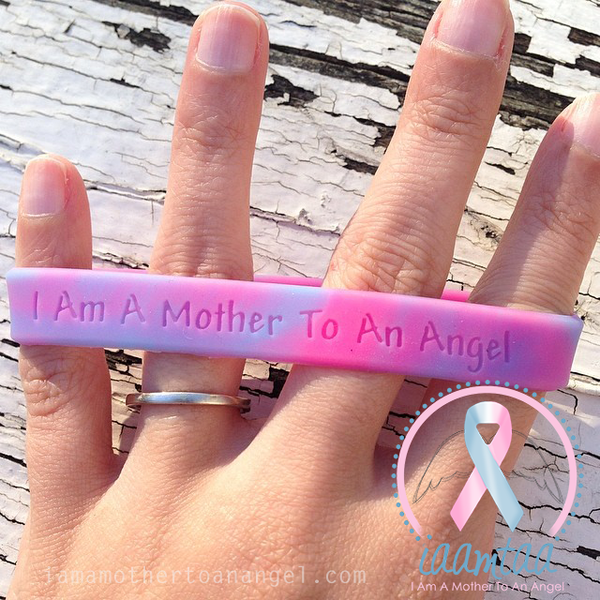 Wristband - I Am A Mother To An Angel - Pink/Blue
