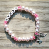 White Pearls - Pink Accents - Personalized Bracelet w/ Angel Wing & Awareness Ribbon Charm