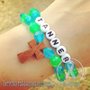 Sky Blue & Pink - Personalized Bracelet w/ Wooden Cross
