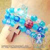Royal Blue & Sky Blue - Personalized Bracelet w/ Wooden Cross