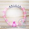 Personalized Bracelet w/ Teddy Bear - Pink & Clear