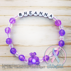 Personalized Bracelet w/ Teddy Bear - Purple & Clear