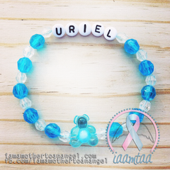 Personalized Bracelet w/ Teddy Bear - Blue & Clear