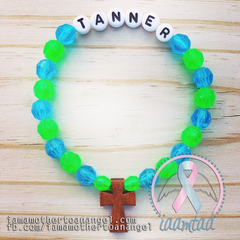 Sky Blue & Green - Personalized Bracelet w/ Wooden Cross