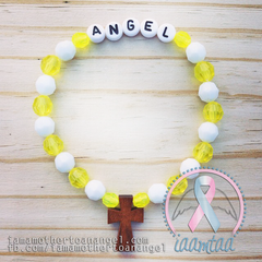 Yellow & White - Personalized Bracelet w/ Wooden Cross