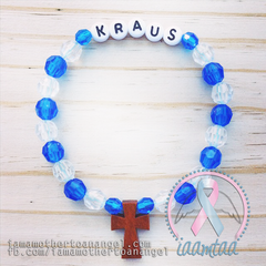 Royal Blue & Clear - Personalized Bracelet w/ Wooden Cross