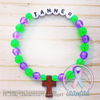 Purple & Green - Personalized Bracelet w/ Wooden Cross