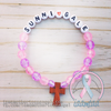 Pink & Purple - Personalized Bracelet w/ Wooden Cross