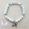 White Pearls - Pink/Blue Accents - Personalized Bracelet w/ Angel Wing & Awareness Ribbon Charm