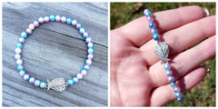 Pink & Blue Pearl Bracelet with Sweet Angel Wings