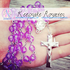 Handmade Keepsake Rosary - Purple