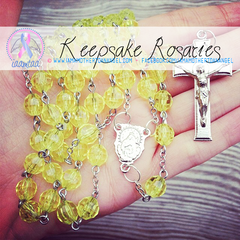 Handmade Keepsake Rosary - Yellow