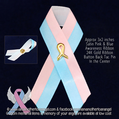 Large Pink & Blue Satin Awareness Ribbon Pin
