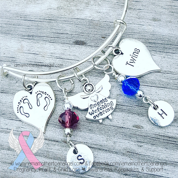 Personalized Twin Angels Bangle - Alex & Ani Style Adjustable Bangle