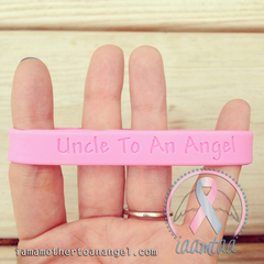 Wristband - Uncle To An Angel - Baby Pink
