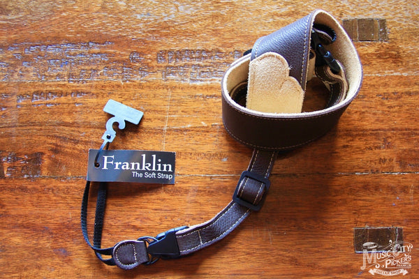 "Franklin Straps 2.5"" Banjo Chocolate Glove Leather/Contrast Suede End Tabs BJ-CH"
