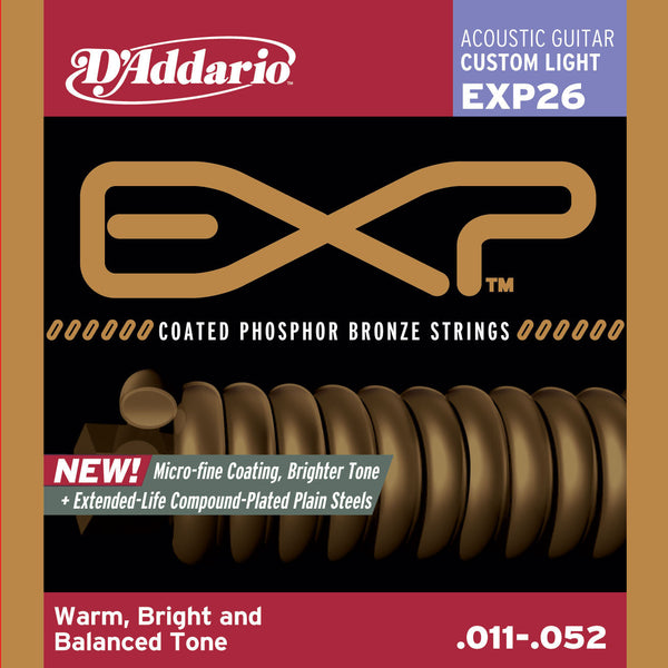 D'Addario EXP26 Coated Phospher Bronze Acoustic Guitar Strings