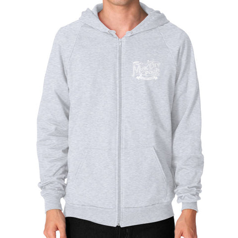 Zip Hoodie (on man)- White Logo