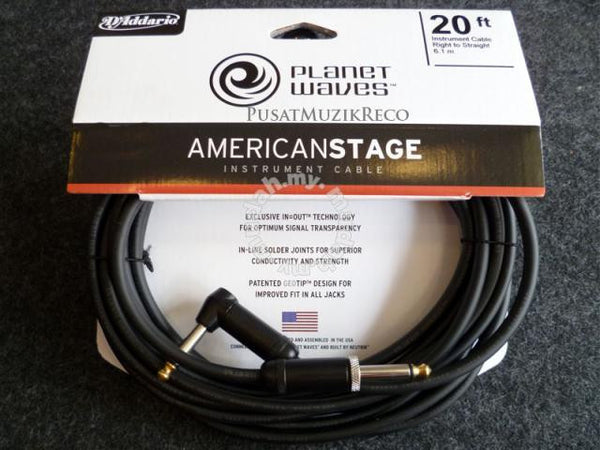 Planet Waves PW-AMSGRA American Stage 20' Instrument Cable RA