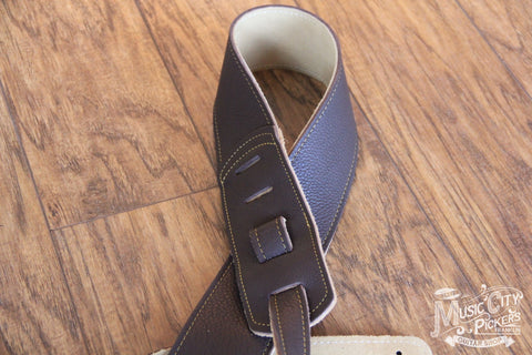 "Franklin Straps 2.5"" Chocolate Leather/Gold Stitching FS-CH-G"