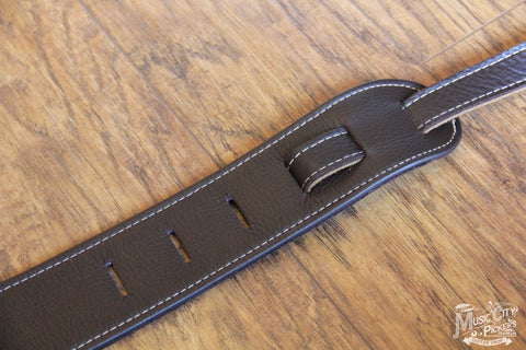 "Franklin Straps 2.5"" Padded Chocolate Leather/Natural Stitch (SKU 10B-CH-N)"