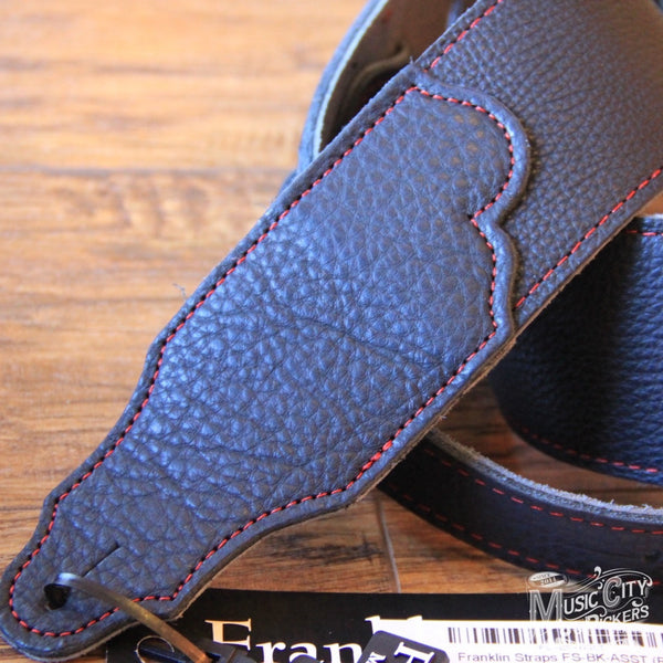 Franklin Straps FS-BK-ASST Leather Guitar Strap (Red)