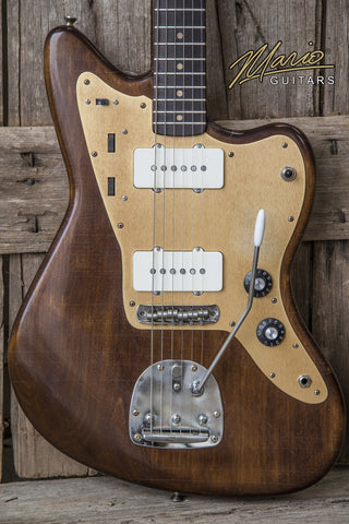 NEW Mario Martin Jazzmaster Offset Style Roasted Maple Neck Brazilian Rosewood Fingerboard Walnut Body Electric Guitar (SKU 6118)