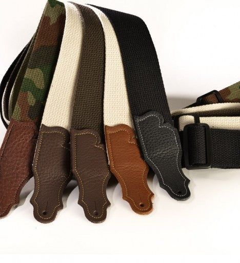 "Franklin Straps 2"" Natural Cotton/Chocolate End Tab (SKU 1-N-CH)"