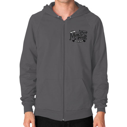 Zip Hoodie (on man)- Black Logo